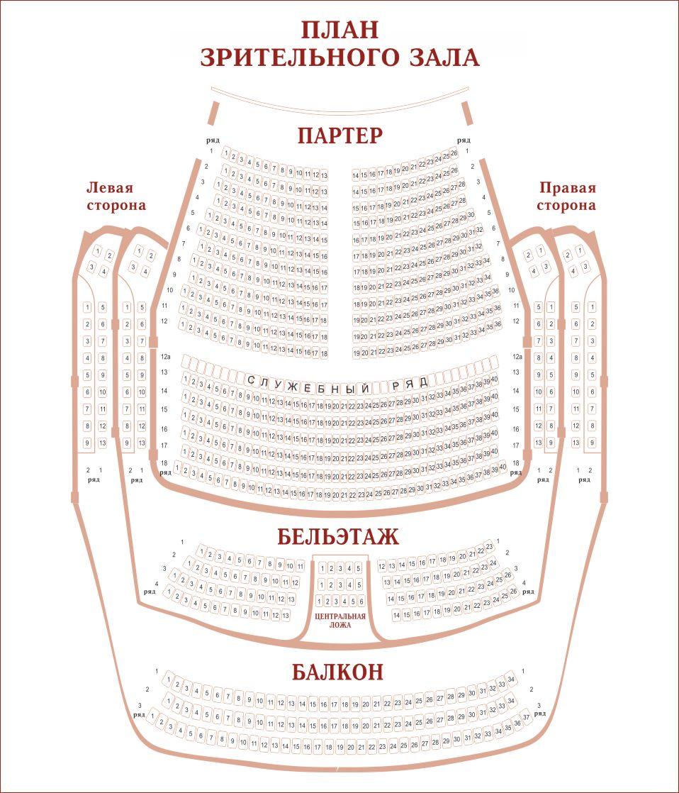 Схема зрительного зала калужского драматического театра